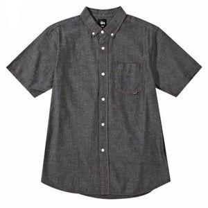 Men's Stussy Black Chambray Button Down Shirt